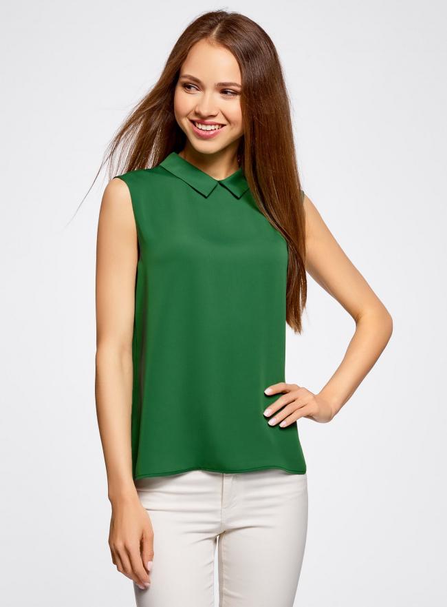 Блузка базовая без рукавов с воротником oodji #SECTION_NAME# (зеленый), 11411084B/43414/6E00N