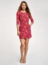 Платье вискозное с рукавом 3/4 oodji #SECTION_NAME# (красный), 11901153-1B/42540/4555F - вид 2