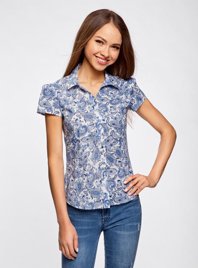 Блузка принтованная из легкой ткани oodji для женщины (слоновая кость), 21407022-9/12836/3075E