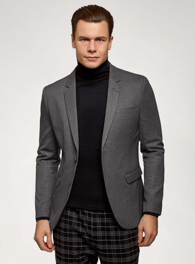 Пиджак приталенный на пуговицах oodji для мужчины (серый), 2B420032M/49805N/2500O