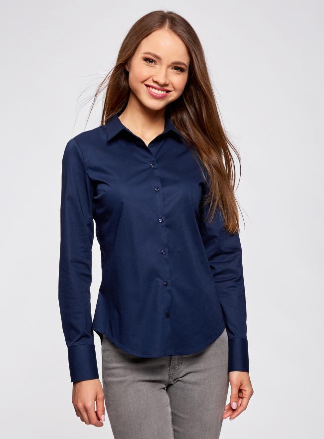 Рубашка базовая из хлопка oodji для женщины (синий), 11403227B/14885/7900N