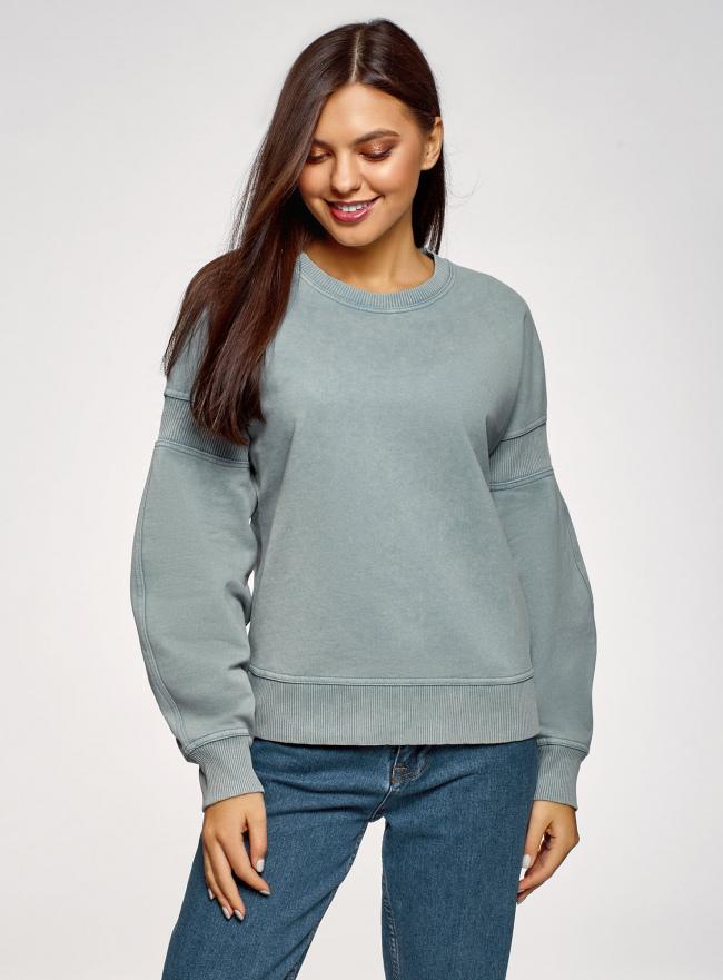 Свитшот хлопковый со спущенным плечом oodji для женщины (синий), 14808037/48881/7400P