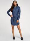 Платье джинсовое с поясом и нагрудным карманом oodji для женщины (синий), 12909044/45251/7900W - вид 2