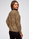 Блузка прямого силуэта с отложным воротником oodji #SECTION_NAME# (коричневый), 11411181/43414/3329A - вид 3
