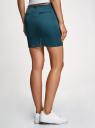 Юбка короткая хлопковая с ремнем oodji для женщины (синий), 11600397-1B/42307/7400N