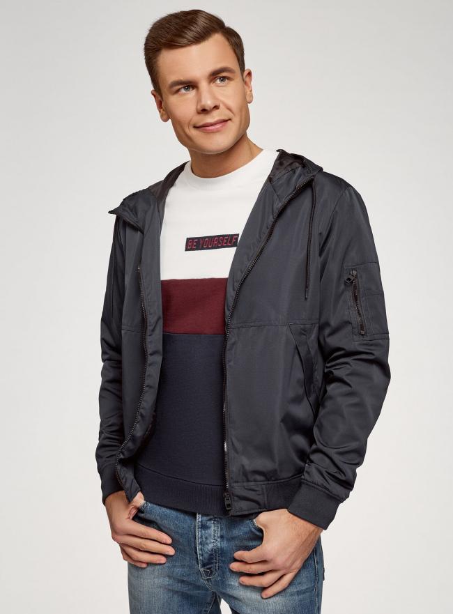 Куртка на молнии с капюшоном oodji #SECTION_NAME# (синий), 1L512019M/49014N/7900N