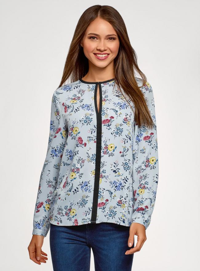 Блузка из струящейся ткани с контрастной отделкой oodji #SECTION_NAME# (серый), 11411059B/43414/2019F