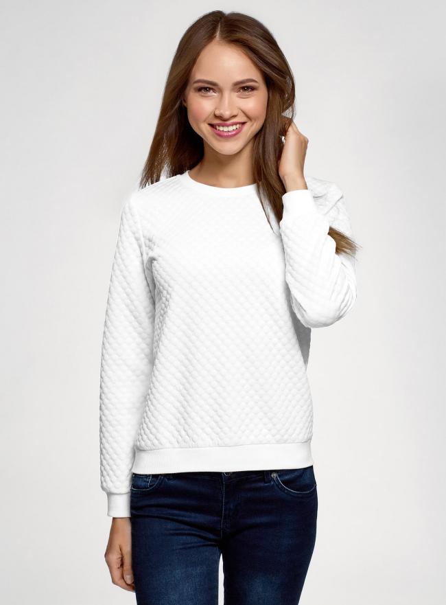 Свитшот базовый из фактурной ткани oodji для женщины (белый), 24801010-19/49344/1201N