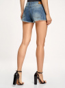 Шорты джинсовые с потертостями oodji для женщины (синий), 12807075-1/42559/7500W