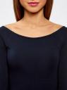 Платье облегающее с вырезом-лодочкой oodji #SECTION_NAME# (синий), 14017001-6B/47420/7900N - вид 4