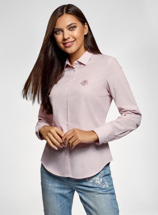 Рубашка приталенная oodji #SECTION_NAME# (розовый), 13K03001-3B/33081/4B10S