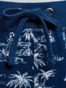 Брюки трикотажные на завязках oodji #SECTION_NAME# (синий), 16701042/46919/7930G - вид 4