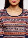 Платье жаккардовое с геометрическим узором oodji для женщины (красный), 14001064-5/46025/3133J