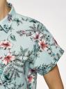 Рубашка прямого силуэта с коротким рукавом oodji #SECTION_NAME# (зеленый), 13L11021/49224/6545F - вид 5
