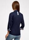 Рубашка хлопковая с рукавом 3/4 oodji #SECTION_NAME# (синий), 11403201-2/26357/7900N - вид 3