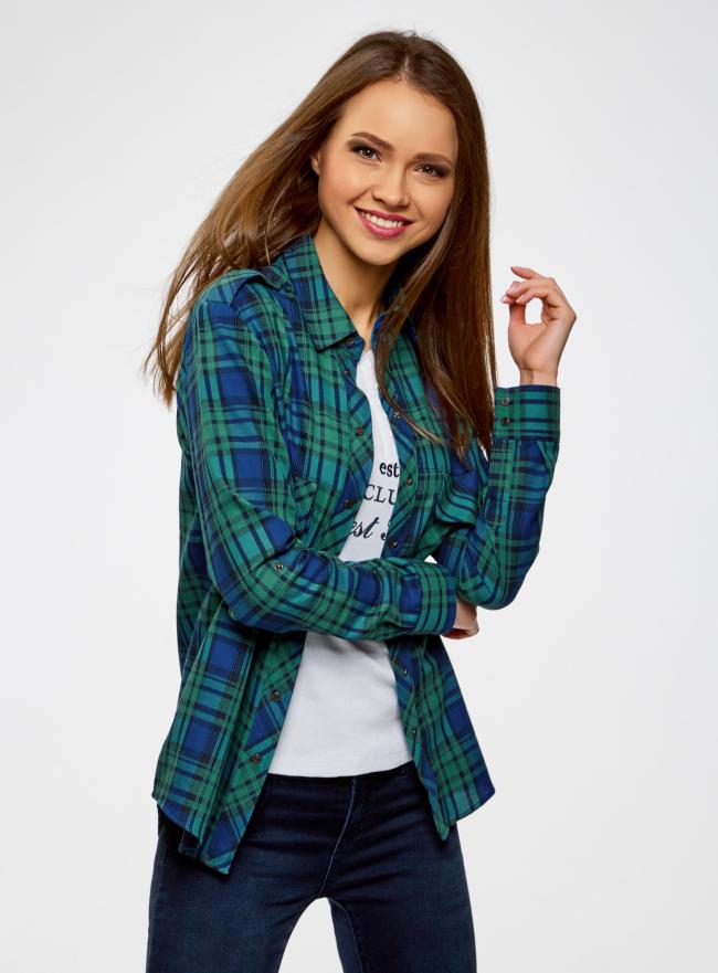 Рубашка в клетку с карманами oodji для женщины (зеленый), 11411052/42850/6E75C