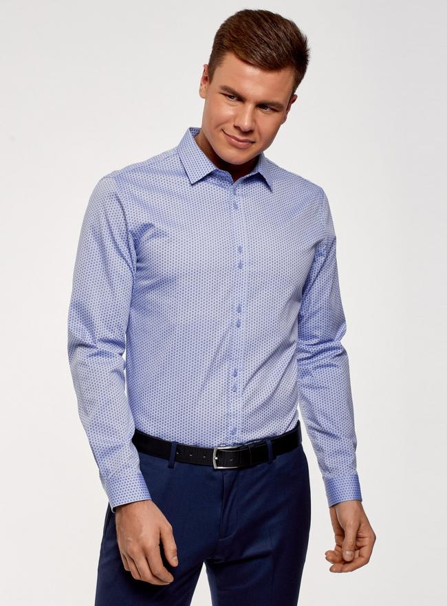 Рубашка из хлопка принтованная oodji #SECTION_NAME# (синий), 3L110311M/47778N/7079O