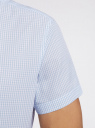 Рубашка клетчатая с коротким рукавом oodji #SECTION_NAME# (белый), 3L210030M/44192N/1070C - вид 5