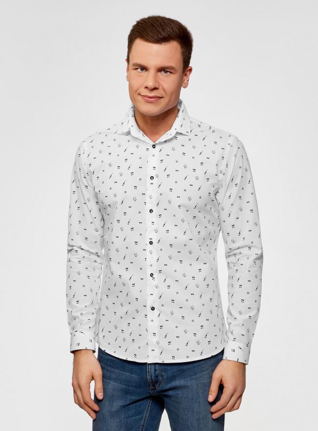 Рубашка приталенная из хлопка oodji для мужчины (белый), 3L110296M/44425N/1029G
