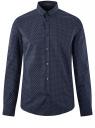 Рубашка хлопковая в мелкую графику oodji #SECTION_NAME# (синий), 3L110335M/19370N/7975G