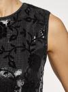 Платье с пайетками и принтом из флока oodji для женщины (черный), 24005135/46121/2929F - вид 5