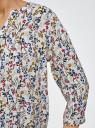 Блузка прямого силуэта с рукавом 3/4 oodji #SECTION_NAME# (слоновая кость), 11411188/26346/3069F - вид 5