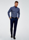 Рубашка принтованная из хлопка oodji #SECTION_NAME# (синий), 3B110027M/19370N/7510G - вид 6