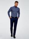 Рубашка принтованная из хлопка oodji для мужчины (синий), 3B110027M/19370N/7510G