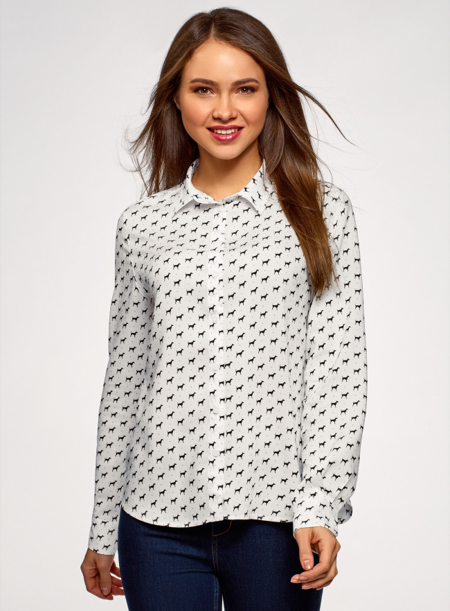 Блузка базовая из вискозы oodji для женщины (белый), 11411136B/26346/1029K