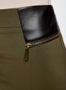 Юбка с декоративными молниями и вставками из искусственной кожи oodji для женщины (зеленый), 21605067/42250/6900N