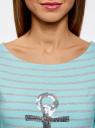 Платье трикотажное с декором из пайеток oodji #SECTION_NAME# (бирюзовый), 14001071-3/46148/7391P - вид 4