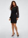 Платье шифоновое с ремнем oodji для женщины (черный), 11900150-18B/13632/2900N