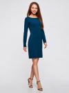 Платье трикотажное облегающего силуэта oodji для женщины (синий), 14001183B/46148/7901N - вид 6