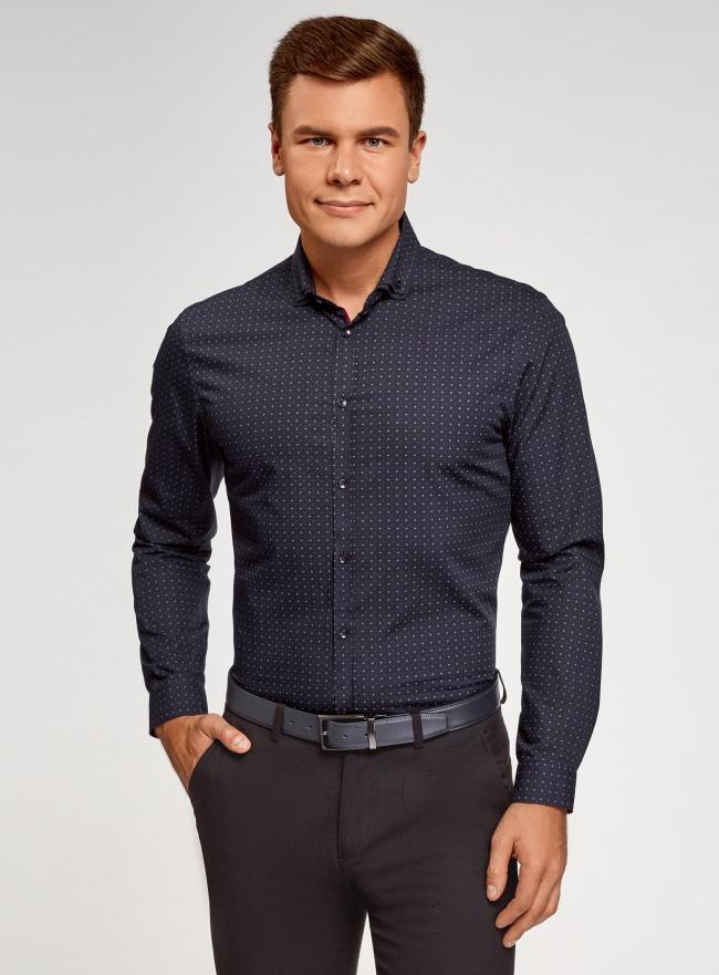 Рубашка хлопковая в мелкую графику oodji для мужчины (синий), 3L110378M/44425N/7545G