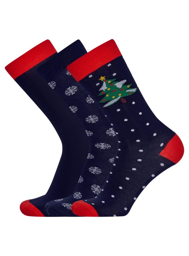 Носки новогодние (комплект из 3 пар) oodji #SECTION_NAME# (синий), 7O230041M/10816/7910J