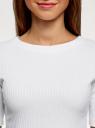 Джемпер в рубчик с круглым вырезом oodji для женщины (белый), 14701075/46412/1001N