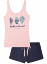Пижама хлопковая с принтом oodji для женщины (розовый), 56002199-5/46154/4A79P