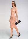Платье трикотажное с графическим принтом oodji #SECTION_NAME# (оранжевый), 14018001/45396/5912G - вид 6