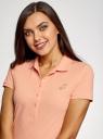 Поло из ткани пике с аппликацией из страз oodji для женщины (розовый), 19301001-6/46161/4300P