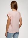 Футболка хлопковая с принтом oodji для женщины (розовый), 14707001-59/46154/4010P