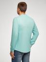 Рубашка льняная без воротника oodji #SECTION_NAME# (бирюзовый), 3B320002M/21155N/7303N - вид 3