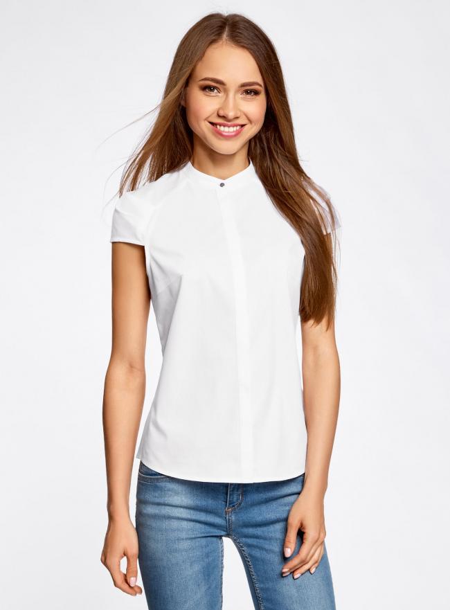 Рубашка с коротким рукавом из хлопка oodji для женщины (белый), 11403196-1/18193/1000N