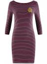 Платье трикотажное в полоску oodji #SECTION_NAME# (красный), 14001071-11/46148/4929S