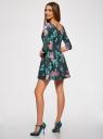 Платье трикотажное принтованное oodji #SECTION_NAME# (зеленый), 14001150-3/33038/7683F - вид 3