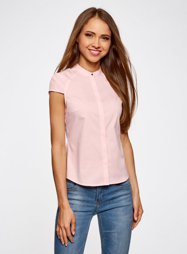 Рубашка с коротким рукавом из хлопка oodji для женщины (розовый), 11403196-1/18193/4000N