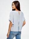 Блузка вискозная свободного силуэта oodji #SECTION_NAME# (синий), 11405138/46436/7001N - вид 3