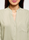 Блузка вискозная с рукавом-трансформером 3/4 oodji #SECTION_NAME# (зеленый), 11403189-2B/26346/6000N - вид 4