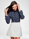 Блузка с декоративными завязками и оборками на воротнике oodji #SECTION_NAME# (синий), 11411091-2/36215/7930F - вид 2