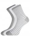 Комплект хлопковых носков в полоску (3 пары) oodji #SECTION_NAME# (разноцветный), 57102813T3/48022/11 - вид 2