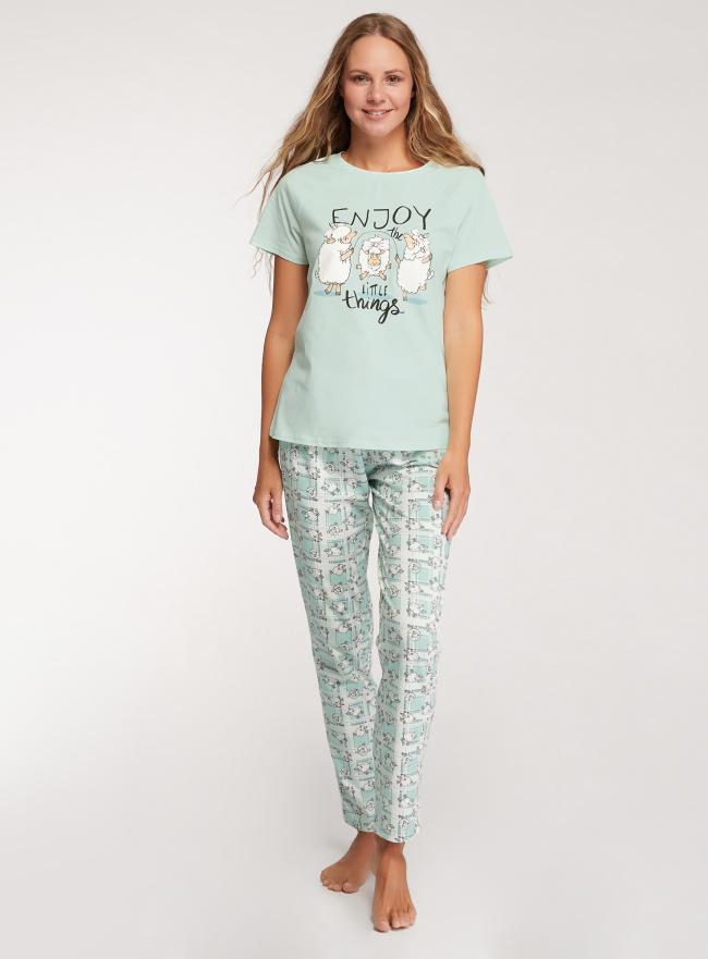 Пижама хлопковая с брюками oodji для женщины (зеленый), 56002200-7/47885N/6512P